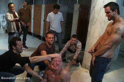 Photo number 7 from The wrestler gets gang banged by a horny crowd in a public restroom for losing his match.      shot for Bound in Public on Kink.com. Featuring Phenix Saint and Kieron Ryan in hardcore BDSM & Fetish porn.