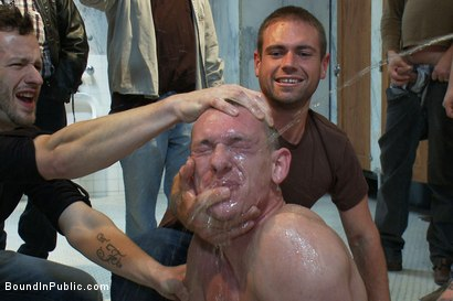 Photo number 8 from The wrestler gets gang banged by a horny crowd in a public restroom for losing his match.      shot for Bound in Public on Kink.com. Featuring Phenix Saint and Kieron Ryan in hardcore BDSM & Fetish porn.