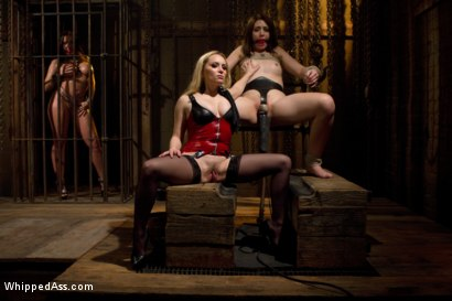 Photo number 4 from Lezdom Chastity Cuckold shot for Whipped Ass on Kink.com. Featuring Sarah Shevon, Kelly Divine and Aiden Starr in hardcore BDSM & Fetish porn.