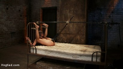Photo number 15 from Beautiful Latina girl is orgasmed to sub space. Brutal nipple torture, clit torture & foot caning.  shot for Hogtied on Kink.com. Featuring Heather Vahn in hardcore BDSM & Fetish porn.