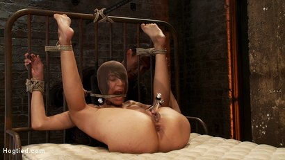 Photo number 6 from Beautiful Latina girl is orgasmed to sub space. Brutal nipple torture, clit torture & foot caning.  shot for Hogtied on Kink.com. Featuring Heather Vahn in hardcore BDSM & Fetish porn.