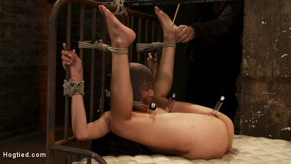 Photo number 9 from Beautiful Latina girl is orgasmed to sub space. Brutal nipple torture, clit torture & foot caning.  shot for Hogtied on Kink.com. Featuring Heather Vahn in hardcore BDSM & Fetish porn.