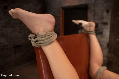 Photo number 4 from Girl next door takes brutal foot caning, devastating orgasms, a horrific throat fucking & anal abuse shot for Hogtied on Kink.com. Featuring Ashli  Orion in hardcore BDSM & Fetish porn.