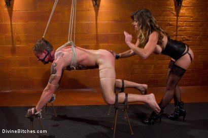 Photo number 4 from Leather Clad Fem Dom: Episode 1 shot for Divine Bitches on Kink.com. Featuring Felony and Trent Diesel in hardcore BDSM & Fetish porn.