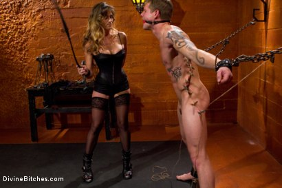 Photo number 3 from Leather Clad Fem Dom: Episode 1 shot for Divine Bitches on Kink.com. Featuring Felony and Trent Diesel in hardcore BDSM & Fetish porn.