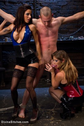Photo number 4 from 18 year old slaveboy chewed up and spit out by two HOT femdom nymph Bitches! shot for Divine Bitches on Kink.com. Featuring Gia DiMarco,     Cody Allen and Felony in hardcore BDSM & Fetish porn.