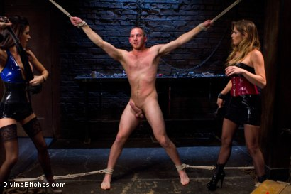 Photo number 1 from 18 year old slaveboy chewed up and spit out by two HOT femdom nymph Bitches! shot for Divine Bitches on Kink.com. Featuring Gia DiMarco,     Cody Allen and Felony in hardcore BDSM & Fetish porn.
