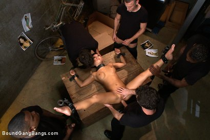 Photo number 3 from America's Sweetheart: Blackmailed and Defiled!!! Starring Asa Akira shot for Bound Gang Bangs on Kink.com. Featuring Asa Akira, Ramon Nomar, Mr. Pete, James Deen, Jon Jon and Rico Strong in hardcore BDSM & Fetish porn.