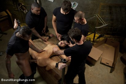 Photo number 5 from America's Sweetheart: Blackmailed and Defiled!!! Starring Asa Akira shot for Bound Gang Bangs on Kink.com. Featuring Asa Akira, Ramon Nomar, Mr. Pete, James Deen, Jon Jon and Rico Strong in hardcore BDSM & Fetish porn.