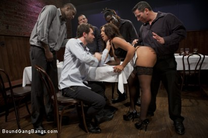 Photo number 2 from The Customer Is Always Right shot for Bound Gang Bangs on Kink.com. Featuring Mr. Pete, Leilani Leeane, James Deen, Jon Jon, Bobby Bends and John Strong in hardcore BDSM & Fetish porn.
