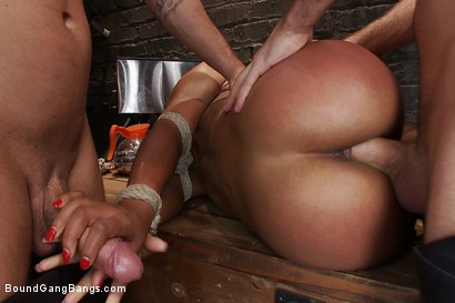 Photo number 5 from The Customer Is Always Right shot for Bound Gang Bangs on Kink.com. Featuring Mr. Pete, Leilani Leeane, James Deen, Jon Jon, Bobby Bends and John Strong in hardcore BDSM & Fetish porn.