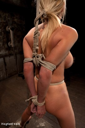 Photo number 2 from Bomb shell blond with massive breasts, tan, long sexy legs gets bound, crotch roped and made to cum! shot for Hogtied on Kink.com. Featuring Blake Rose in hardcore BDSM & Fetish porn.