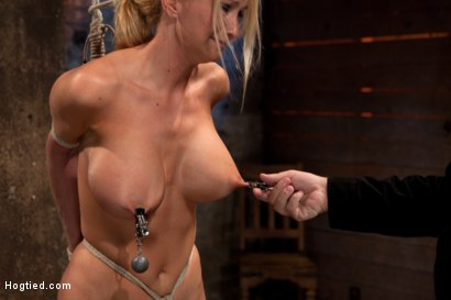 Photo number 10 from Bomb shell blond with massive breasts, tan, long sexy legs gets bound, crotch roped and made to cum! shot for Hogtied on Kink.com. Featuring Blake Rose in hardcore BDSM & Fetish porn.