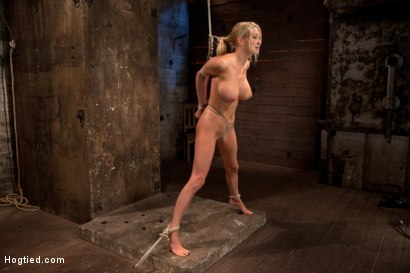 Photo number 11 from Bomb shell blond with massive breasts, tan, long sexy legs gets bound, crotch roped and made to cum! shot for Hogtied on Kink.com. Featuring Blake Rose in hardcore BDSM & Fetish porn.