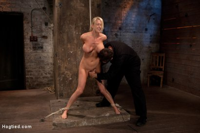 Photo number 13 from Bomb shell blond with massive breasts, tan, long sexy legs gets bound, crotch roped and made to cum! shot for Hogtied on Kink.com. Featuring Blake Rose in hardcore BDSM & Fetish porn.