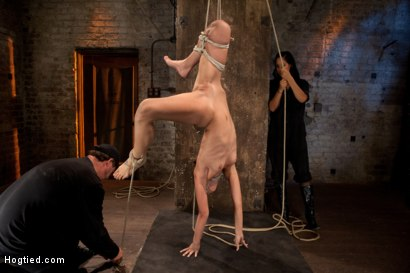 Photo number 12 from Tiny flexible brunette suffers a Category 5 suspension while being made to cum over and over! shot for Hogtied on Kink.com. Featuring Isis Love and Amber Rayne in hardcore BDSM & Fetish porn.