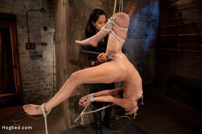 Photo number 6 from Tiny flexible brunette suffers a Category 5 suspension while being made to cum over and over! shot for Hogtied on Kink.com. Featuring Isis Love and Amber Rayne in hardcore BDSM & Fetish porn.