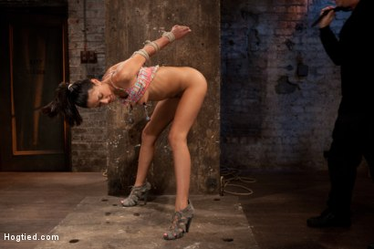 Photo number 4 from Skinny 22yr with big nipples is severely bound, brutally skull fucked, made to cum & bound to suffer shot for Hogtied on Kink.com. Featuring Lyla Storm in hardcore BDSM & Fetish porn.