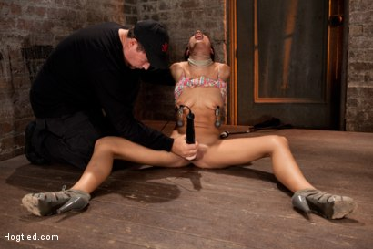 Photo number 8 from Skinny 22yr with big nipples is severely bound, brutally skull fucked, made to cum & bound to suffer shot for Hogtied on Kink.com. Featuring Lyla Storm in hardcore BDSM & Fetish porn.