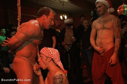 Photo number 4 from Live Shoot: It's the best Xmas Party ever!!! shot for Bound in Public on Kink.com. Featuring Christian Wilde, Brian Bonds and Derek Pain in hardcore BDSM & Fetish porn.