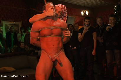 Photo number 5 from Live Shoot: It's the best Xmas Party ever!!! shot for Bound in Public on Kink.com. Featuring Christian Wilde, Brian Bonds and Derek Pain in hardcore BDSM & Fetish porn.