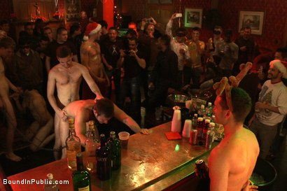 Photo number 10 from Live Shoot: It's the best Xmas Party ever!!! shot for Bound in Public on Kink.com. Featuring Christian Wilde, Brian Bonds and Derek Pain in hardcore BDSM & Fetish porn.