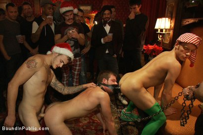 Photo number 8 from Live Shoot: It's the best Xmas Party ever!!! shot for Bound in Public on Kink.com. Featuring Christian Wilde, Brian Bonds and Derek Pain in hardcore BDSM & Fetish porn.