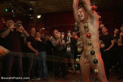 Photo number 9 from Live Shoot: It's the best Xmas Party ever!!! shot for Bound in Public on Kink.com. Featuring Christian Wilde, Brian Bonds and Derek Pain in hardcore BDSM & Fetish porn.