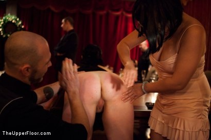 Photo number 13 from Community Dinner shot for The Upper Floor on Kink.com. Featuring Alexxa Bound, Dylan Ryan and Maestro Stefanos in hardcore BDSM & Fetish porn.
