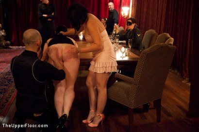 Photo number 14 from Community Dinner shot for The Upper Floor on Kink.com. Featuring Alexxa Bound, Dylan Ryan and Maestro Stefanos in hardcore BDSM & Fetish porn.