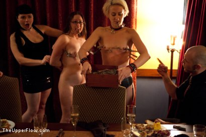 Photo number 17 from Community Dinner shot for The Upper Floor on Kink.com. Featuring Alexxa Bound, Dylan Ryan and Maestro Stefanos in hardcore BDSM & Fetish porn.