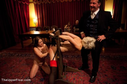 Photo number 19 from Community Dinner shot for The Upper Floor on Kink.com. Featuring Alexxa Bound, Dylan Ryan and Maestro Stefanos in hardcore BDSM & Fetish porn.