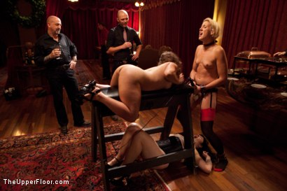 Photo number 3 from Community Dinner shot for The Upper Floor on Kink.com. Featuring Alexxa Bound, Dylan Ryan and Maestro Stefanos in hardcore BDSM & Fetish porn.