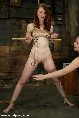 Photo number 3 from Kendra James and Bridgett Harrington shot for Wired Pussy on Kink.com. Featuring Kendra James and Bridgett Harrington in hardcore BDSM & Fetish porn.
