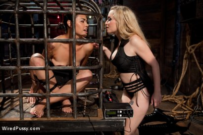 """Photo number 2 from """"The Terrifying Nature of Electricity"""" A Reality Film shot for Wired Pussy on Kink.com. Featuring Dana Vespoli and Aiden Starr in hardcore BDSM & Fetish porn."""