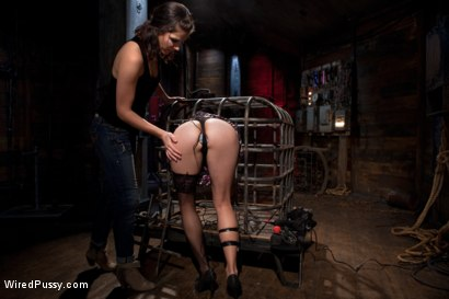 """Photo number 15 from """"The Terrifying Nature of Electricity"""" A Reality Film shot for Wired Pussy on Kink.com. Featuring Dana Vespoli and Aiden Starr in hardcore BDSM & Fetish porn."""