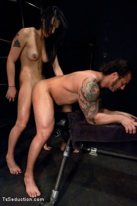 """Photo number 10 from Brand New TS Talent Teighjiana debuts in """"Sex Club Confidential"""" shot for TS Seduction on Kink.com. Featuring Teighjiana and Dutch Bardoux in hardcore BDSM & Fetish porn."""