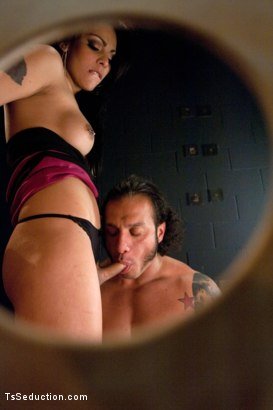 """Photo number 6 from Brand New TS Talent Teighjiana debuts in """"Sex Club Confidential"""" shot for TS Seduction on Kink.com. Featuring Teighjiana and Dutch Bardoux in hardcore BDSM & Fetish porn."""