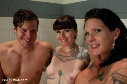 Photo number 15 from Tattoo Confidential: Ts Morgan Bailey Dominates in a Threesome. Double Penetration & Cum Swapping  shot for TS Seduction on Kink.com. Featuring Morgan Bailey, Vivienne Del Rio and Parker London in hardcore BDSM & Fetish porn.