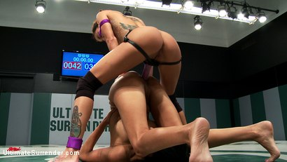 Photo number 14 from 2 hot wrestlers battle in the featherweight division!<br>Veteran destroys Rookie, fucks her up hard! shot for Ultimate Surrender on Kink.com. Featuring Beretta James and Gia DiMarco in hardcore BDSM & Fetish porn.