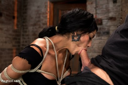 Photo number 3 from Sexy Cougar is bound, and brutally skull fucked  Hair tied on the floor made to cum like a slut! shot for Hogtied on Kink.com. Featuring Beretta James in hardcore BDSM & Fetish porn.