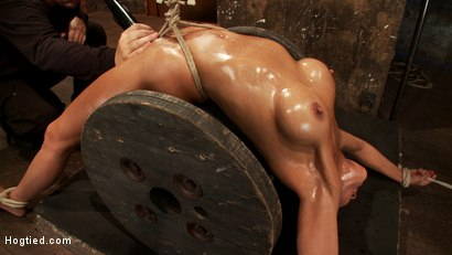 Photo number 12 from Sexy brunette experiences nipple torture, brutal crotch rope and extreme bondage. shot for Hogtied on Kink.com. Featuring Beretta James in hardcore BDSM & Fetish porn.