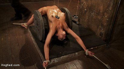 Photo number 4 from Sexy brunette experiences nipple torture, brutal crotch rope and extreme bondage. shot for Hogtied on Kink.com. Featuring Beretta James in hardcore BDSM & Fetish porn.