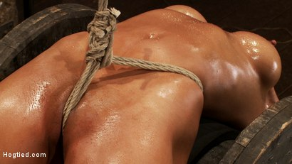 Photo number 7 from Sexy brunette experiences nipple torture, brutal crotch rope and extreme bondage. shot for Hogtied on Kink.com. Featuring Beretta James in hardcore BDSM & Fetish porn.