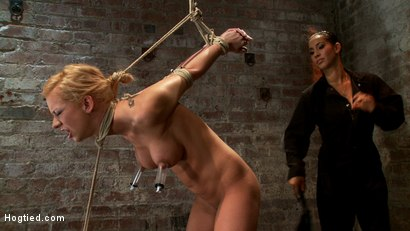 Photo number 5 from Stappado'd, elbows together, legs spread, nipples clamped & weighted, flogged, made to cum & suffer! shot for Hogtied on Kink.com. Featuring Isis Love and Kaylee Hilton in hardcore BDSM & Fetish porn.
