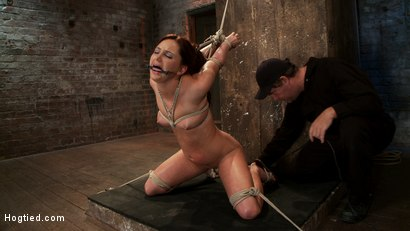 Photo number 7 from Cute 20yr old has elbows tied tight & strappado'd, hair tied back made to cum while totally helpless shot for Hogtied on Kink.com. Featuring Hope Howell in hardcore BDSM & Fetish porn.