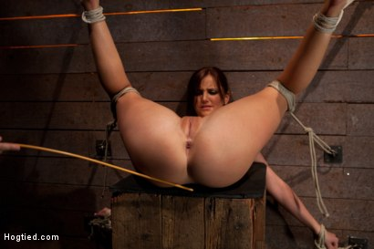 Photo number 7 from Cute 20yr old girl next door, bound with legs up & spread, foot torture, caning, finger banged hard! shot for Hogtied on Kink.com. Featuring Hope Howell in hardcore BDSM & Fetish porn.