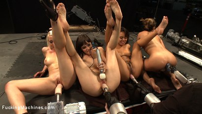 Photo number 13 from Hall of FuckingMachines.com Babes: Kristina Rose, Lorelei Lee, Bobbi Starr, Annie Cruz in the Finale shot for Fucking Machines on Kink.com. Featuring Kristina Rose, Annie Cruz, Bobbi Starr and Lorelei Lee in hardcore BDSM & Fetish porn.