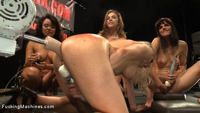 Photo number 5 from Hall of FuckingMachines.com Babes: Kristina Rose, Lorelei Lee, Bobbi Starr, Annie Cruz in the Finale shot for Fucking Machines on Kink.com. Featuring Kristina Rose, Annie Cruz, Bobbi Starr and Lorelei Lee in hardcore BDSM & Fetish porn.