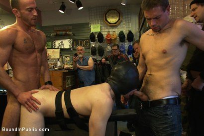 Photo number 8 from 19 year old stud with a giant cock gets used and humiliated in public shot for Bound in Public on Kink.com. Featuring Steve Vex and     Cody Allen in hardcore BDSM & Fetish porn.